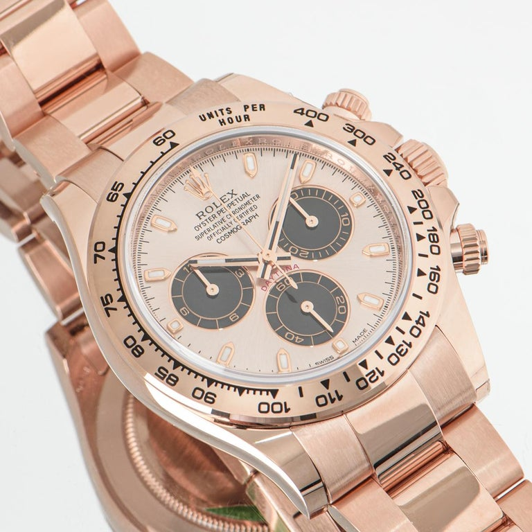 An unworn 40mm rose gold Cosmograph Daytona from Rolex, featuring a sundust and black dial which is a new 2021 release. With an engraved tachymetric scale, three counters and pushers, the Daytona was designed to be the ultimate timing tool for