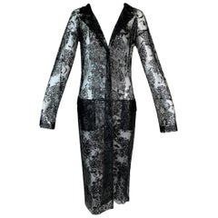 Unworn S/S 1999 Dolce & Gabbana Runway Black Lacquer Lace Coat Dress
