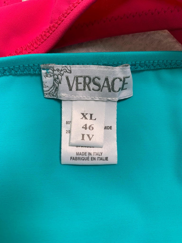 Blue Unworn S/S 2003 Gianni Versace Runway Pink Teal Cut-Out Monokini Swimsuit For Sale