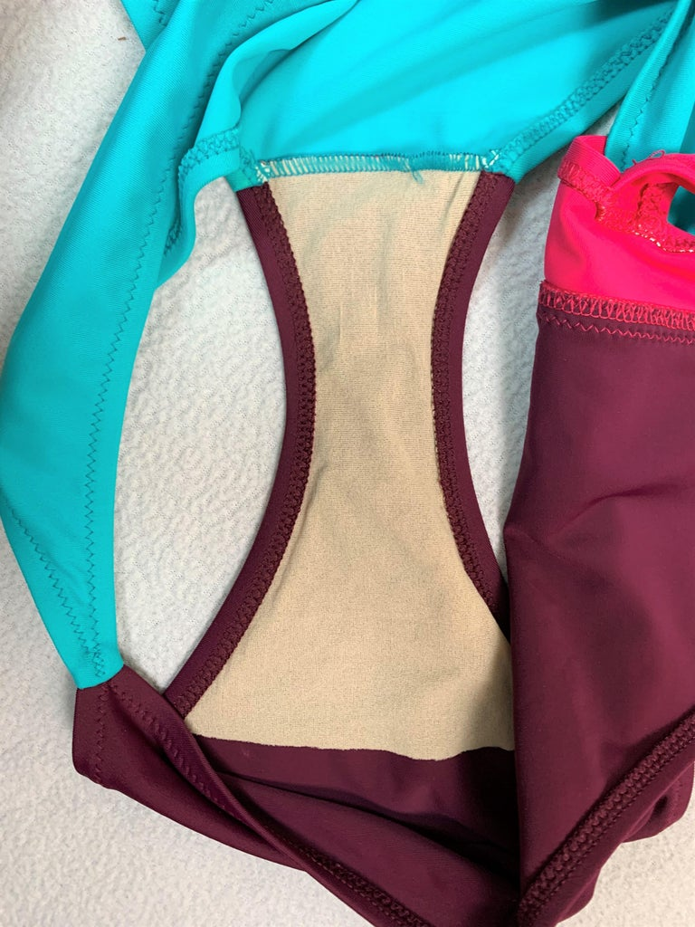 Unworn S/S 2003 Gianni Versace Runway Pink Teal Cut-Out Monokini Swimsuit In New Condition For Sale In Yukon, OK