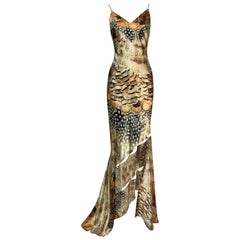 Unworn S/S 2004 Roberto Cavalli Feather Print Cut-Out Gown Dress