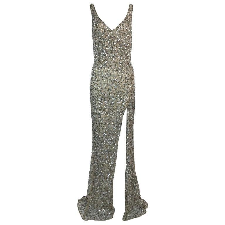 Unworn S/S 2019 Roberto Cavalli Plunging Crystal Embellished High Slit Gown  For Sale