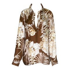 UNWORN Salvatore Ferragamo Jungle Animal Tropical Print Silk Blouse Tunic
