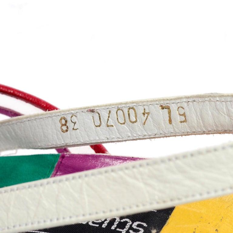 Unworn Stuart Weitzman Vintage Red Green Purple & Yellow Rainbow Heel Shoes 38 For Sale 5