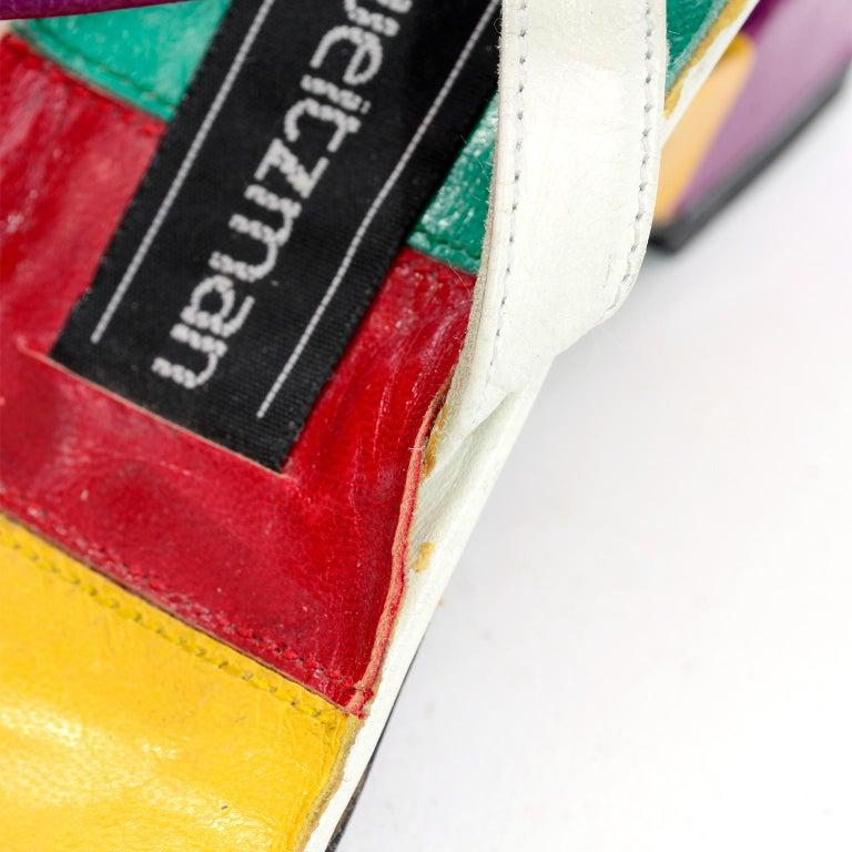Unworn Stuart Weitzman Vintage Red Green Purple & Yellow Rainbow Heel Shoes 38 For Sale 6