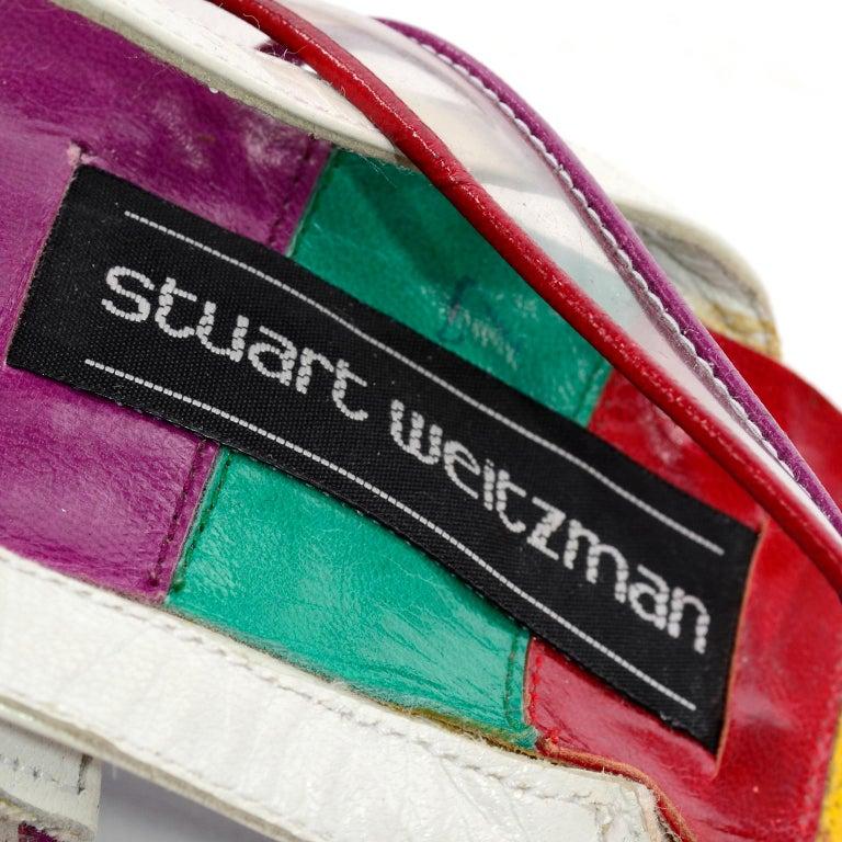 Unworn Stuart Weitzman Vintage Red Green Purple & Yellow Rainbow Heel Shoes 38 For Sale 7