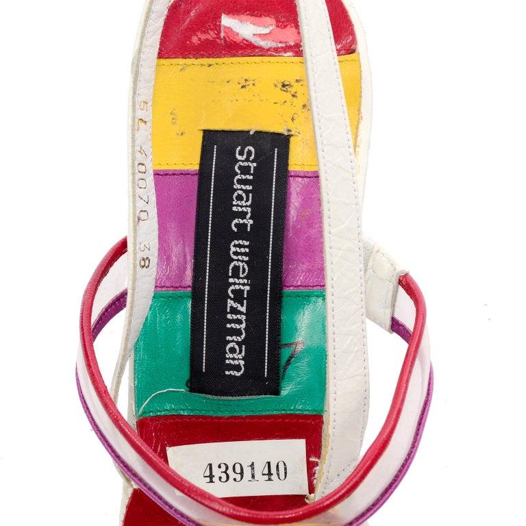 Unworn Stuart Weitzman Vintage Red Green Purple & Yellow Rainbow Heel Shoes 38 For Sale 8