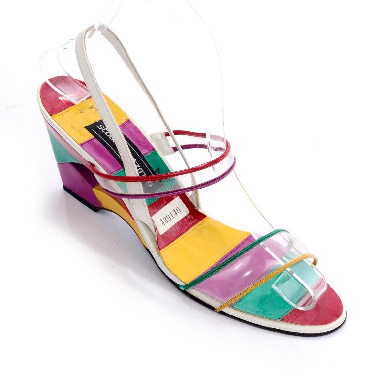 Beige Unworn Stuart Weitzman Vintage Red Green Purple & Yellow Rainbow Heel Shoes 38 For Sale