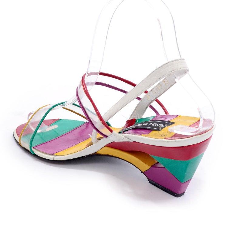 Women's Unworn Stuart Weitzman Vintage Red Green Purple & Yellow Rainbow Heel Shoes 38 For Sale