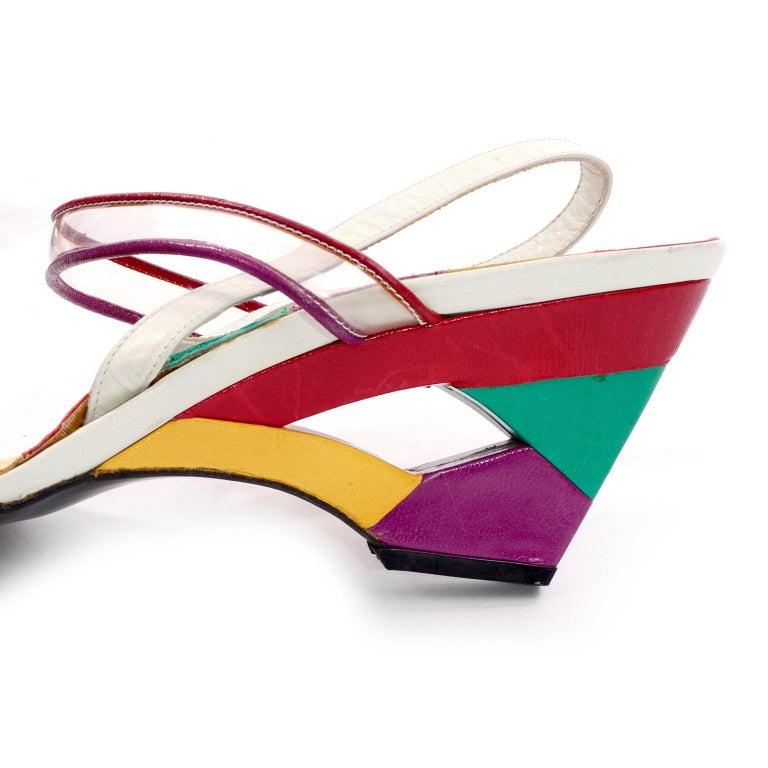 Unworn Stuart Weitzman Vintage Red Green Purple & Yellow Rainbow Heel Shoes 38 For Sale 1