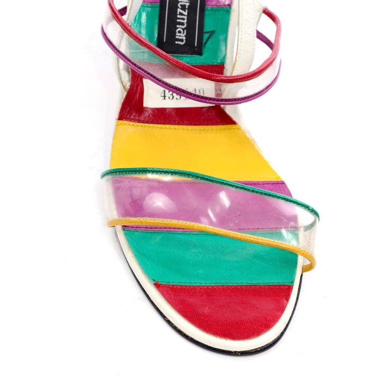 Unworn Stuart Weitzman Vintage Red Green Purple & Yellow Rainbow Heel Shoes 38 For Sale 2