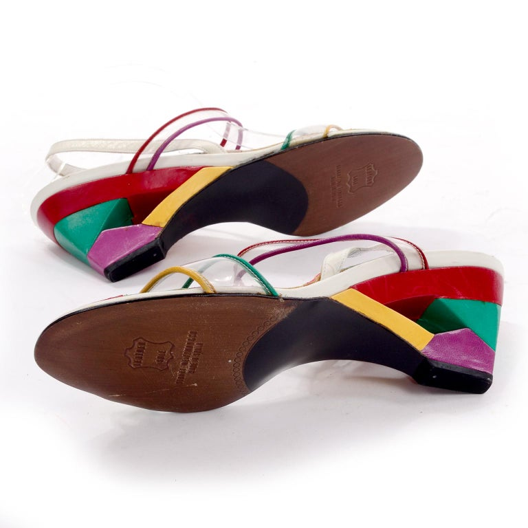 Unworn Stuart Weitzman Vintage Red Green Purple & Yellow Rainbow Heel Shoes 38 For Sale 3