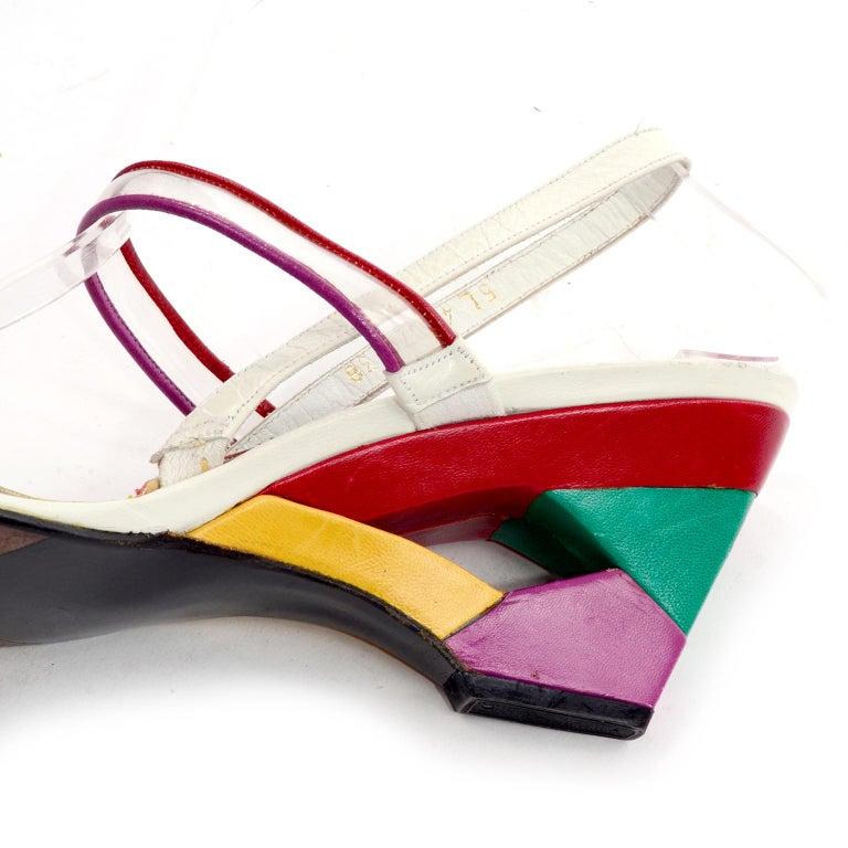 Unworn Stuart Weitzman Vintage Red Green Purple & Yellow Rainbow Heel Shoes 38 For Sale 4