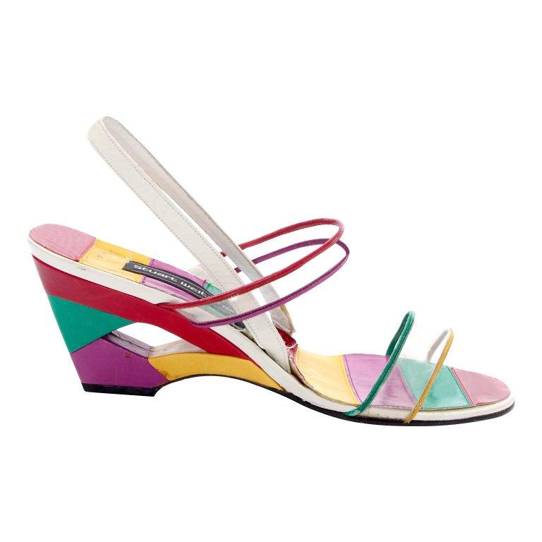 Unworn Stuart Weitzman Vintage Red Green Purple & Yellow Rainbow Heel Shoes 38 For Sale