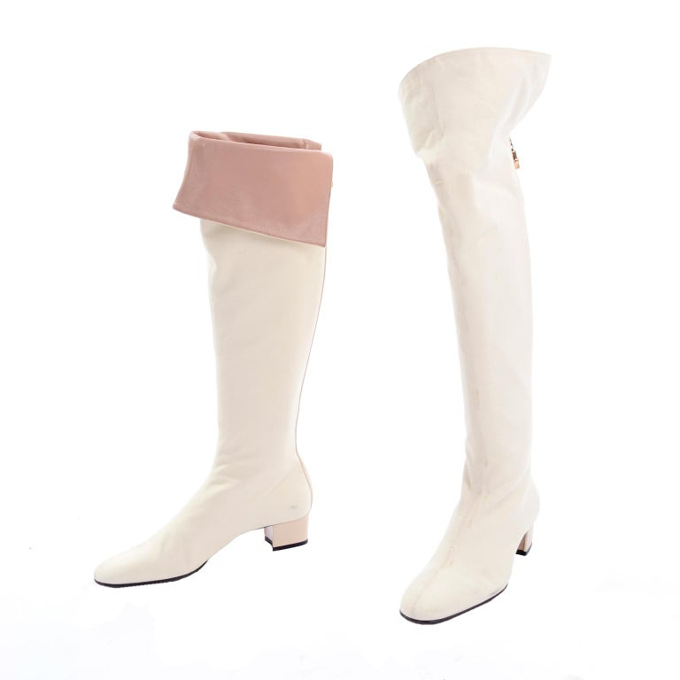 Unworn Tom Ford Gucci S/S 2004 Runway White Canvas Tan Leather Over Knee Boots For Sale 6