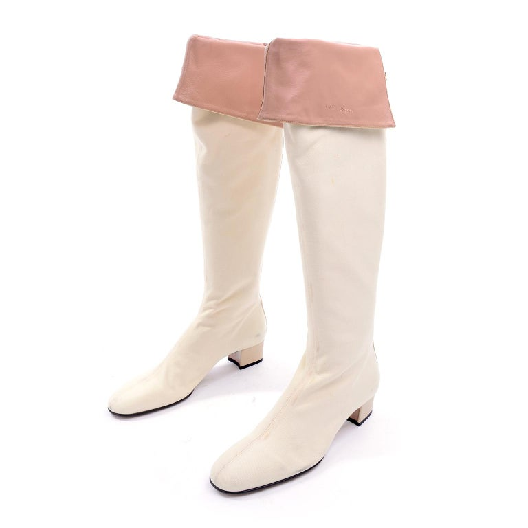 Unworn Tom Ford Gucci S/S 2004 Runway White Canvas Tan Leather Over Knee Boots For Sale 7
