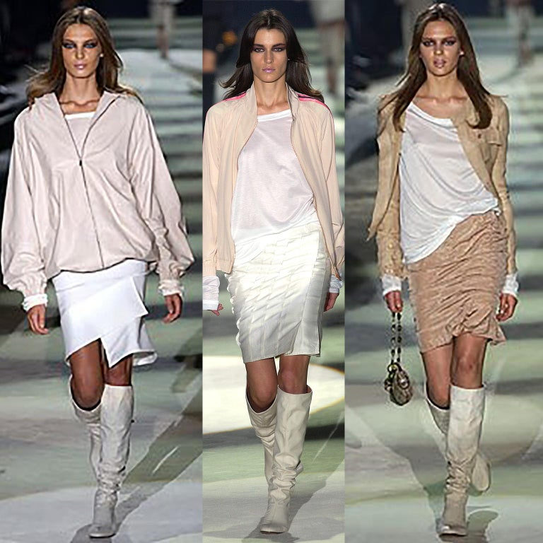 Unworn Tom Ford Gucci S/S 2004 Runway White Canvas Tan Leather Over Knee Boots For Sale 14