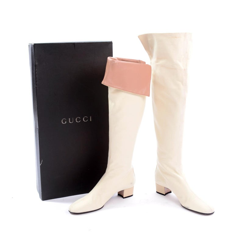 Unworn Tom Ford Gucci S/S 2004 Runway White Canvas Tan Leather Over Knee Boots In Excellent Condition For Sale In Portland, OR