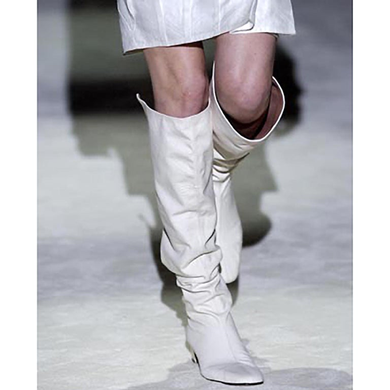Women's Unworn Tom Ford Gucci S/S 2004 Runway White Canvas Tan Leather Over Knee Boots For Sale