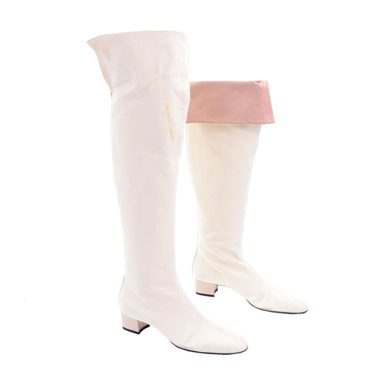 Unworn Tom Ford Gucci S/S 2004 Runway White Canvas Tan Leather Over Knee Boots For Sale 1