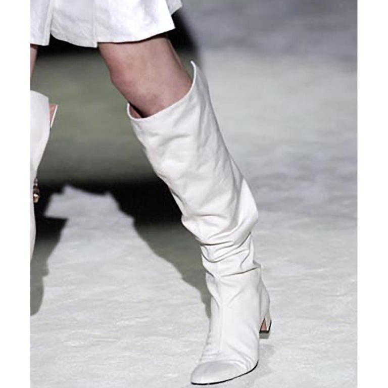 Unworn Tom Ford Gucci S/S 2004 Runway White Canvas Tan Leather Over Knee Boots For Sale 2