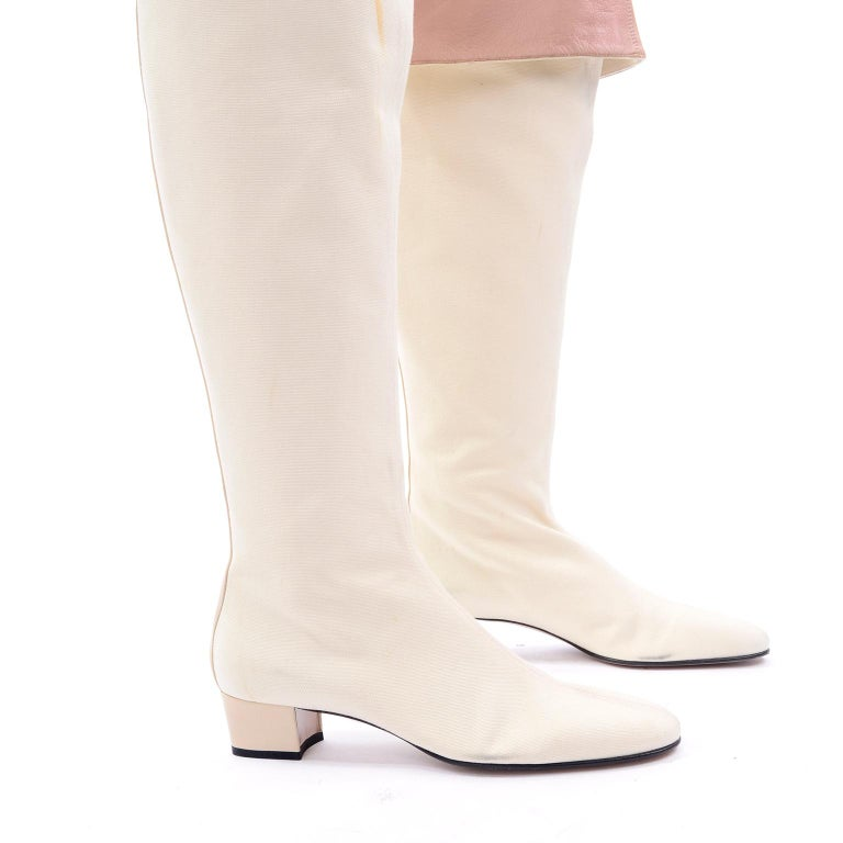 Unworn Tom Ford Gucci S/S 2004 Runway White Canvas Tan Leather Over Knee Boots For Sale 3