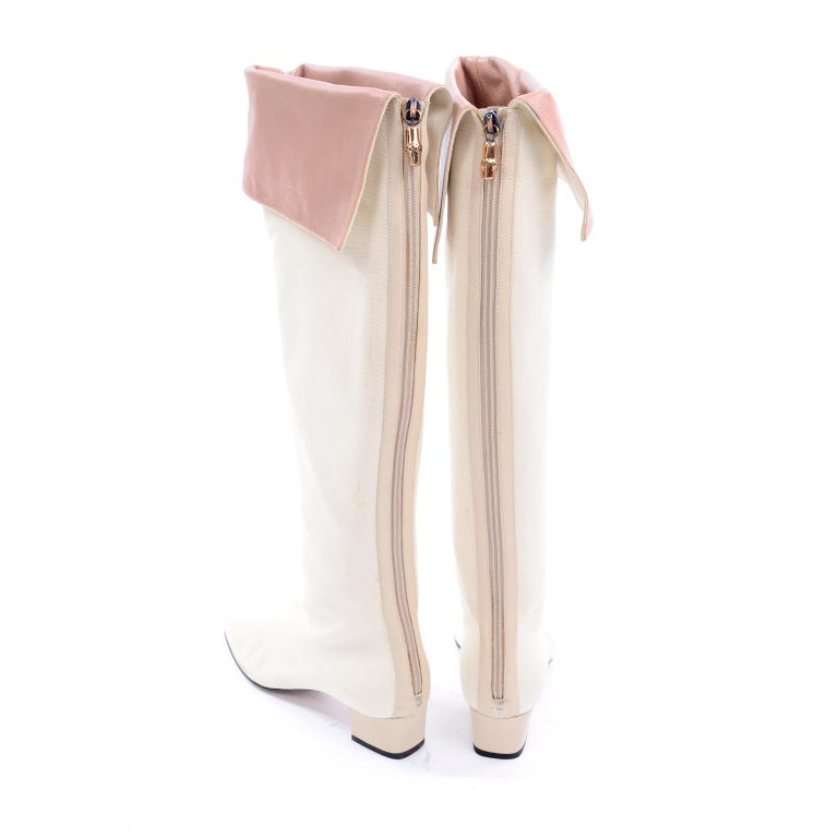 Unworn Tom Ford Gucci S/S 2004 Runway White Canvas Tan Leather Over Knee Boots For Sale 4