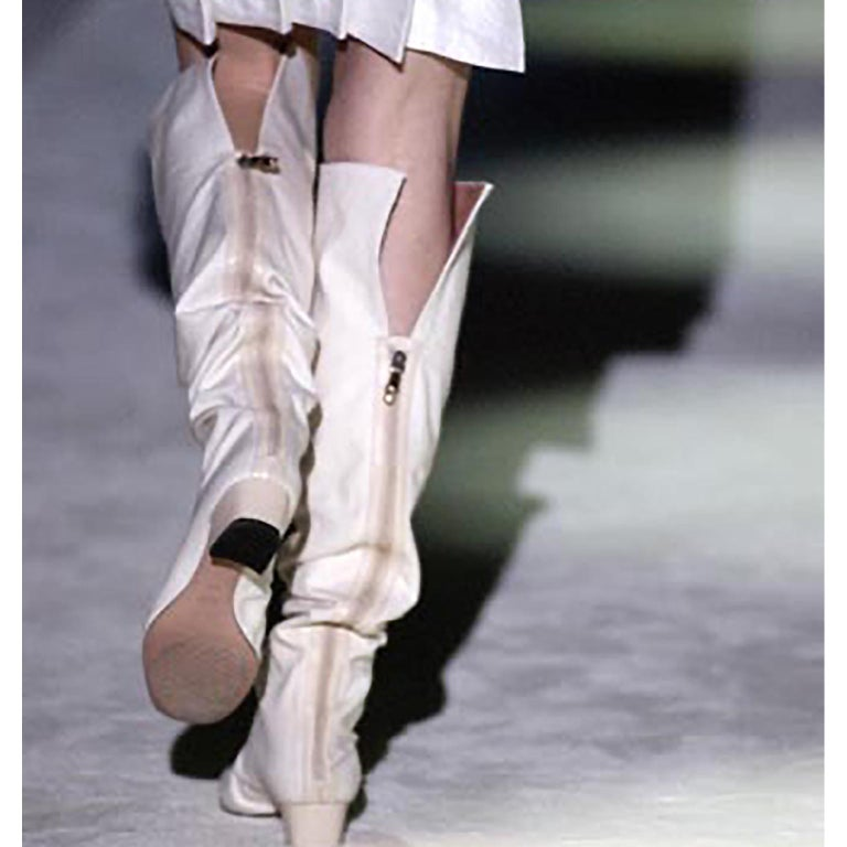 Unworn Tom Ford Gucci S/S 2004 Runway White Canvas Tan Leather Over Knee Boots For Sale 5
