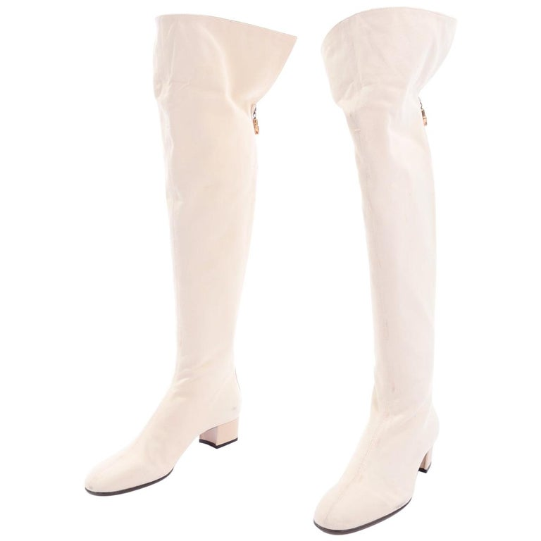 Unworn Tom Ford Gucci S/S 2004 Runway White Canvas Tan Leather Over Knee Boots For Sale