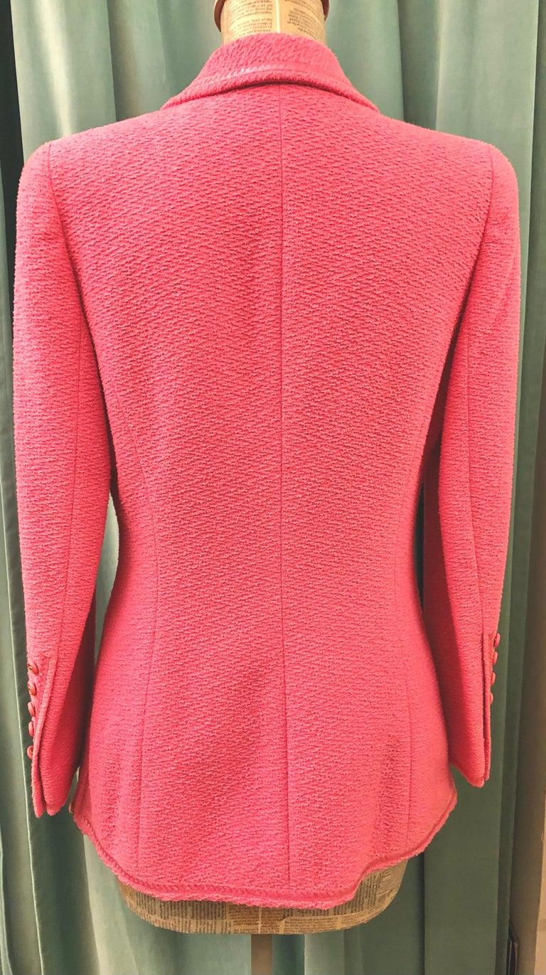Unworn Vintage Chanel Spring 1995 Pink Tweed Jacket  For Sale 1