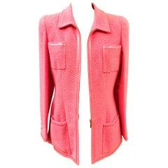 Unworn Vintage Chanel Spring 1995 Pink Tweed Jacket