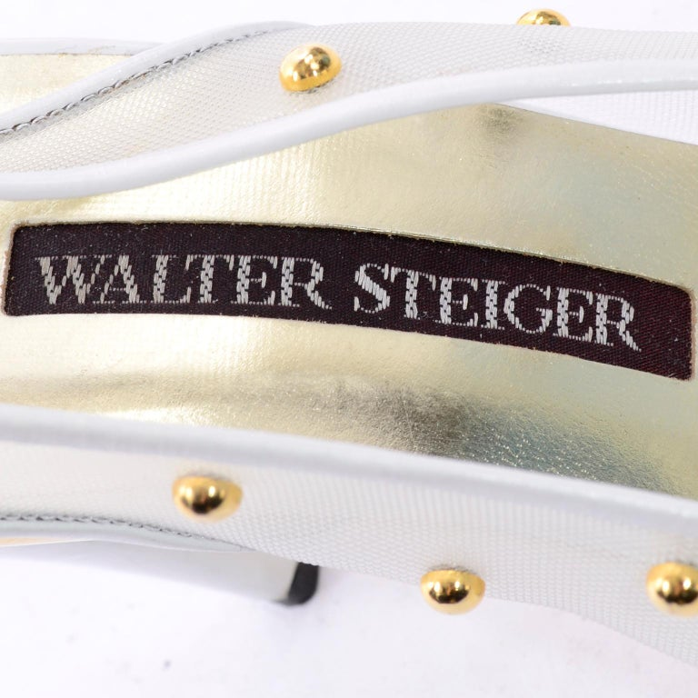Unworn Walter Steiger Shoes Vintage Peep-Toe White Studded Mesh Slingback Heels  For Sale 6