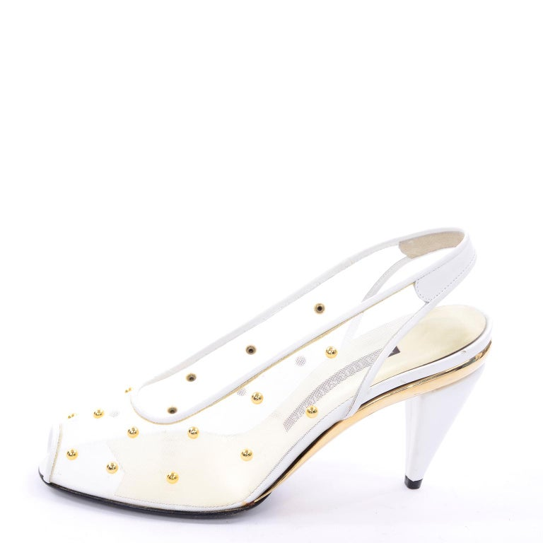 Unworn Walter Steiger Shoes Vintage Peep-Toe White Studded Mesh Slingback Heels  In Excellent Condition For Sale In Portland, OR