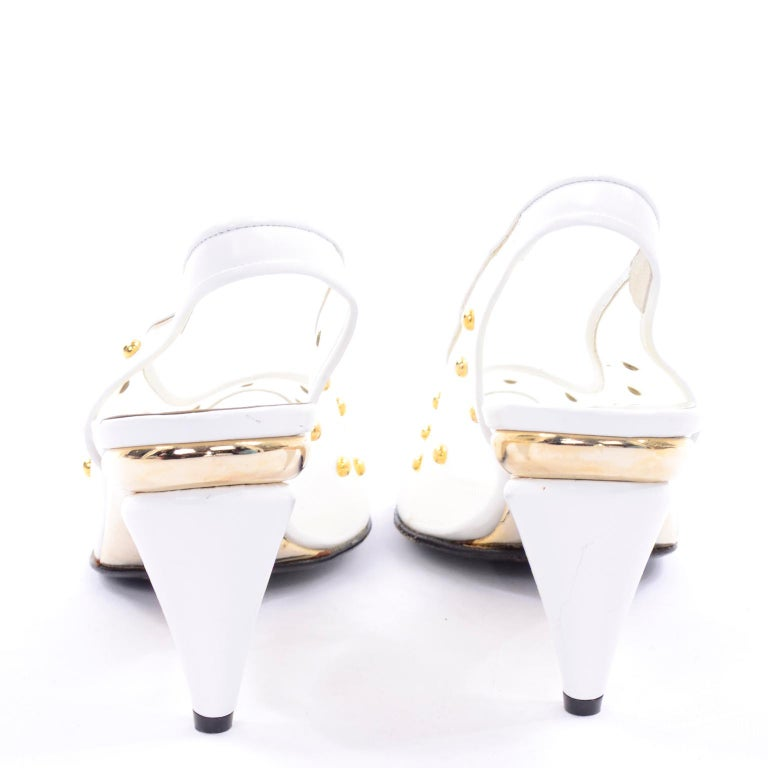 Women's Unworn Walter Steiger Shoes Vintage Peep-Toe White Studded Mesh Slingback Heels  For Sale
