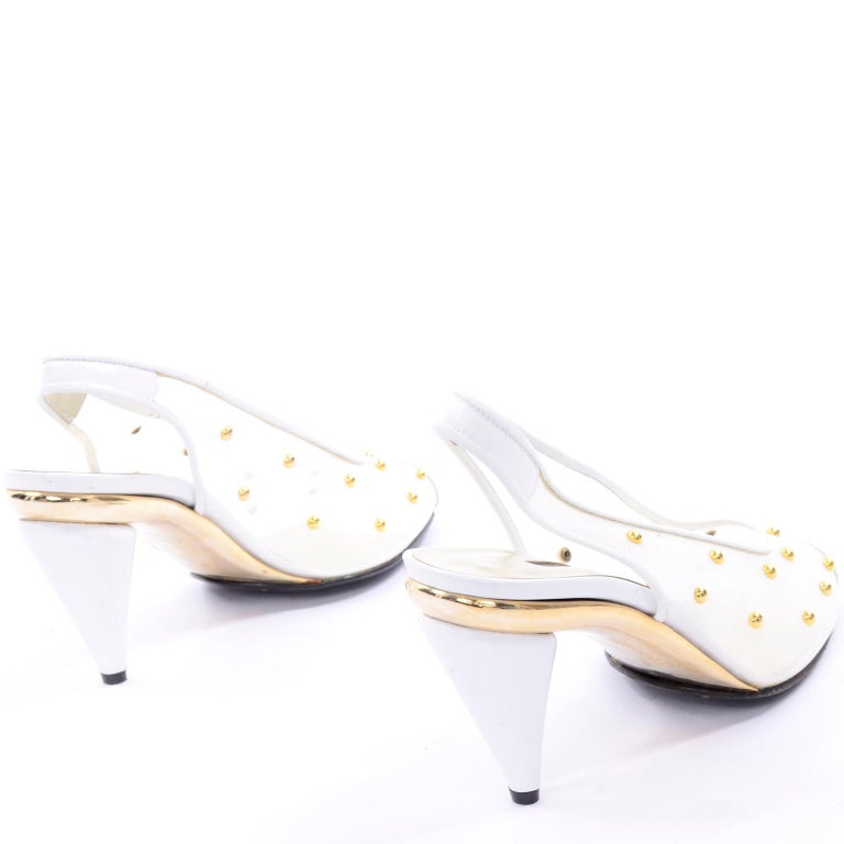 Unworn Walter Steiger Shoes Vintage Peep-Toe White Studded Mesh Slingback Heels  For Sale 1