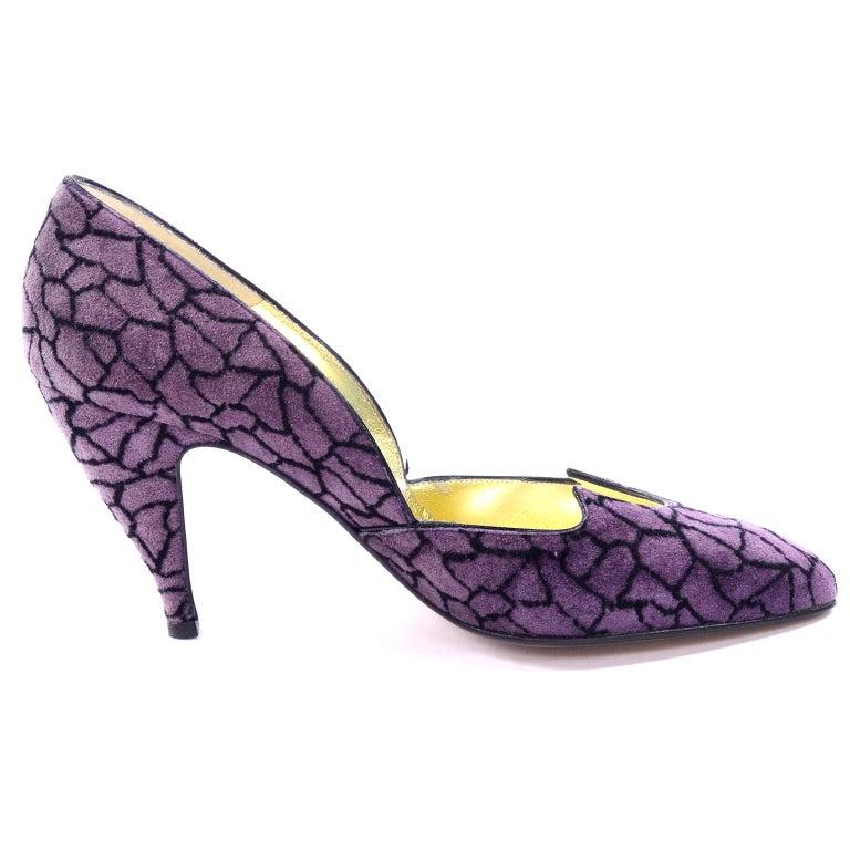 Women's Unworn Walter Steiger Vintage Shoes in Purple & Black Suede With 3.5