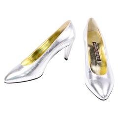 Unworn Walter Steiger Vintage Silver Metallic Shoes W 3 Inch Heels Size 7