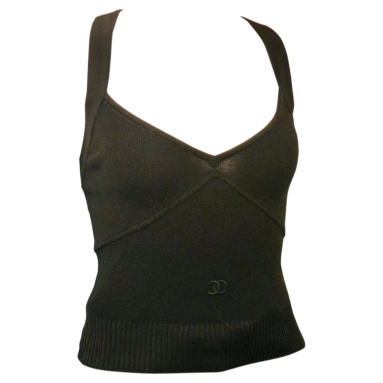 Unworn with Tag Chanel 1996 Black Tank Top  For Sale