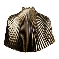 Unworn with Tags 1980s Vintage Metallic Gold Lame Pleated Midi or Maxi Skirt