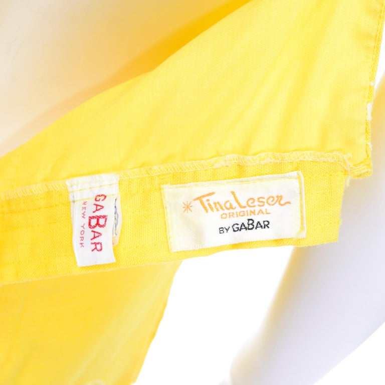 Unworn Yellow Vintage Tina Leser Gabar 1960s Swimsuit w Gingham & Embroidery For Sale 6