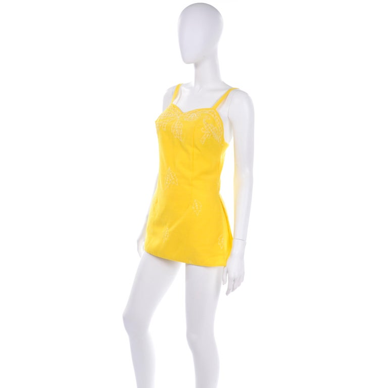 Unworn Yellow Vintage Tina Leser Gabar 1960s Swimsuit w Gingham & Embroidery In New Condition For Sale In Portland, OR