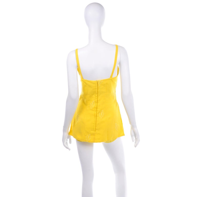 Women's Unworn Yellow Vintage Tina Leser Gabar 1960s Swimsuit w Gingham & Embroidery For Sale