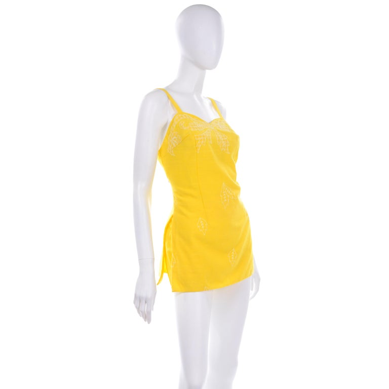 Unworn Yellow Vintage Tina Leser Gabar 1960s Swimsuit w Gingham & Embroidery For Sale 1