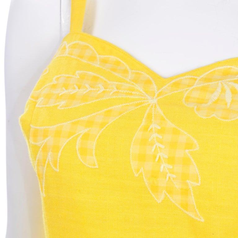 Unworn Yellow Vintage Tina Leser Gabar 1960s Swimsuit w Gingham & Embroidery For Sale 2