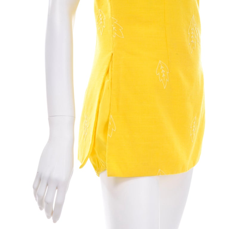 Unworn Yellow Vintage Tina Leser Gabar 1960s Swimsuit w Gingham & Embroidery For Sale 4