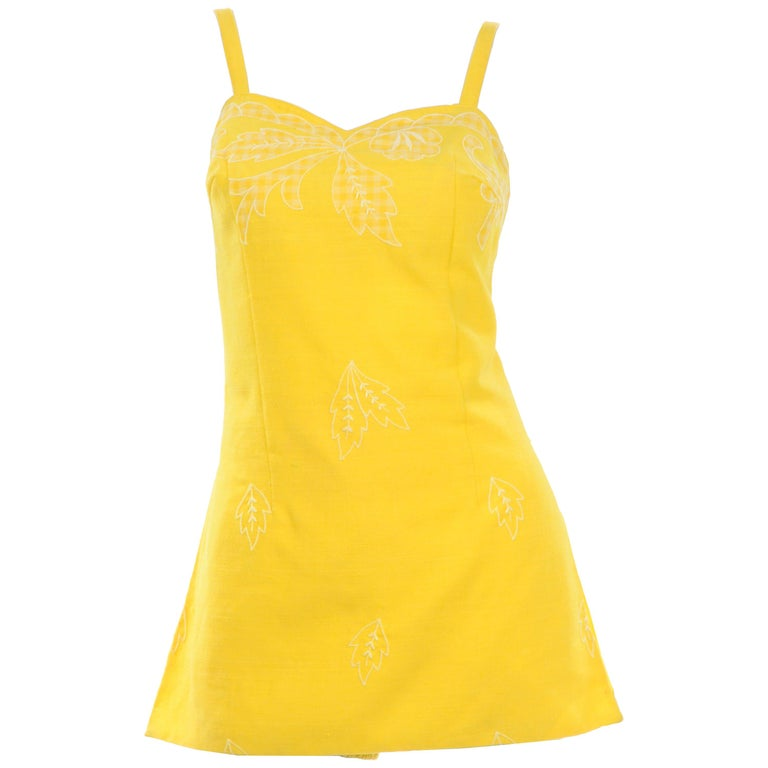 Unworn Yellow Vintage Tina Leser Gabar 1960s Swimsuit w Gingham & Embroidery For Sale