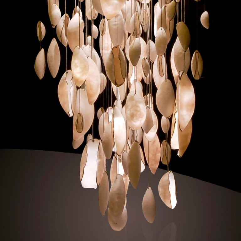 British Contemporary Chandelier Pendant Light With White Porcelain Shells by Eva Menz  For Sale