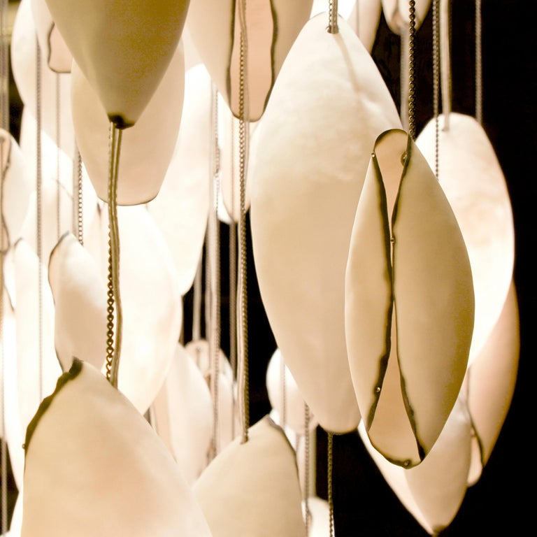 Contemporary Chandelier, Porcelain Sculpture by Eva Menz, Pendant Light In New Condition For Sale In London, GB