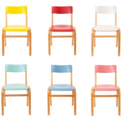 Up to 24 Colorful Midcentury Bentwood Chairs by Ton, Czechoslovakia, 1960s
