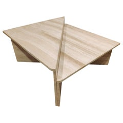 Up&Up Travertine Triangular Coffee Tables, 1970s